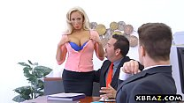 Office MILF with big tits Olivia Fox fucks a new employee preview image