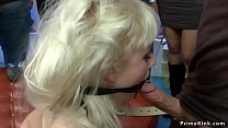Busty blonde fucked in public shoes shop thumbnail