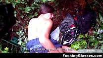 Fucking Glasses - Fucked for cash Amanda near the the bus stop teen-porn