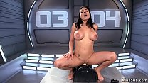 Huge tits solo brunette rides machine thumbnail