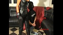 Extreme ballbusting session leatherpants