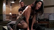Chained MILF riding huge dick