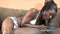 Black housewife Anastasia is blowing a dude she just met thumbnail