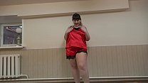 A girl with a big ass in red shorts masturbes her pussy - 9Club.Top