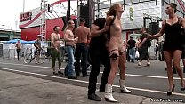 Blonde public disgraced at street fair