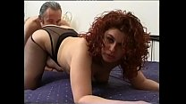 Shameless curly redhead gets fucked in front of a camera preview image