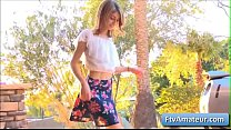 Naughty skinny schoolgirl Kristen dance in a very sexy way and takes her clothes off