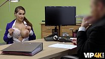 VIP4K. Unemployed young woman comes to the loan agency and gets dirty