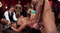 Domme makes slaves fuck at party