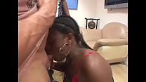 Huge ass black babes hard sucks a white cock on couch and gets cum Preview
