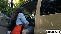 Huge boobs ebony gets pounded in the van thumbnail