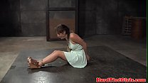 Bound sub tied up and whipped by black dom preview image