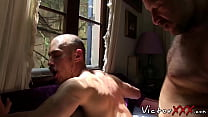 Hairy mature dude raw fucking the hell out of bald gay