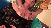 Sexy grandma enjoys his cock in her mouth and hairy pussy preview image