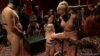 Two blondes fucked in public bondage