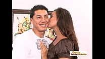 Nasty brunette gets licked and drilled in front of her husband