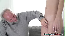 Teen babe fucked by older guy before facial