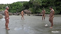 Naked football on the beach