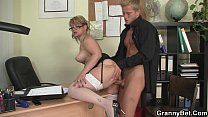 him seduces stockings white in mature Office