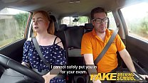 Fake Driving School Voluptuous redhead fucks in car preview image