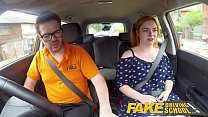 Fake Driving School Voluptuous redhead fucks in car - 9Club.Top