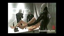 Bounded and fist gangbanged gay hunk