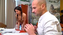 Katty West does the cleaning naked and seduces the master of the house صورة