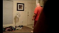 wife flashing delivery pizza boy (husband open the door)