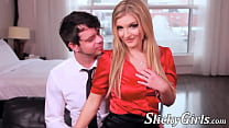 Stockings clad Jemma Valentine blows and bangs ...