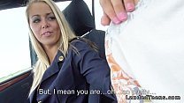 15252 Blonde stewardess with nice legs gives blowjob in car preview