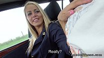 Blonde stewardess with nice legs gives blowjob ...