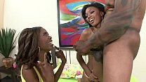 Parody Hot Black Babes Share Huge COck's Thumb