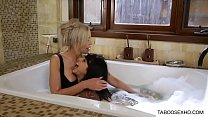 Stepmom and daughter bath