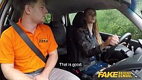 Fake Driving School Cute teen brunette pussy stretched Image
