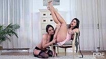 Lesbian fetish lingerie play shows sexy Abbie Cat dominating horny Zafira