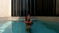 Outdoor Pool hot tits and fingering