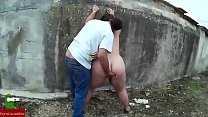 This couple was so horny that they started doing oral sex next to a big wall on GU street