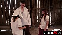 Polish porn - Two sisters fucked hard in the barn