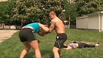 Real mixed wrestling - 1 male bodybuilder vs 2 ...