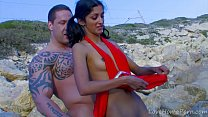 Indiana Fox , skinny indian babe fucking with Rob Diesel at the beach - download porn videos