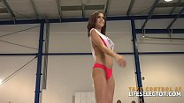 Lesbian beauty contestant Nancy is willing to get fucked by a man in order to win