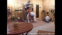 Fucking a Blonde in Home Gym after Workout - download porn videos
