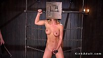 Busty slave with boxed head pussy vibes