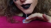 Black lips cum in my mouth latex gloves spit SlowMo pornhub video