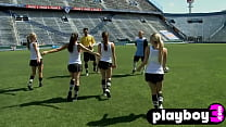 Amazing lesbians with nice big boobs played with a friend in outdoor games