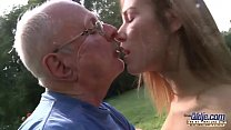 Young Old Porn Beautiful Teen Giving Blowjob and fucked by grandpa outside preview image