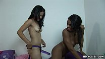 Black bitch gets fucked by her lover strap on style