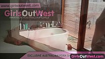 Girls Out West - Short haired amateur has orgasm in bathtub