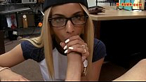 Hot babe in glasses nailed by pawn dude Thumbnail