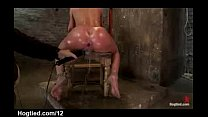 Bound babe to a chair with perfect ass toyed an...